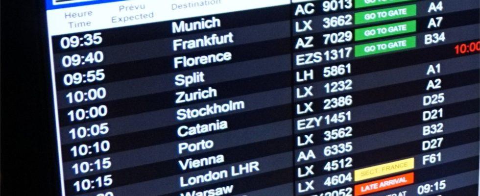aéroport board départs